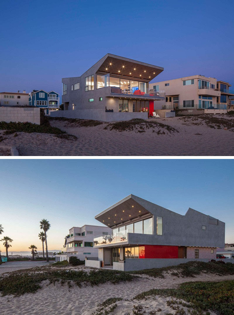 14 Examples Of Modern Beach Houses // Surrounded by sand and overlooking the ocean, this California beach house has clean angles and colorful details that give it a fun, modern vibe, perfect for the young family living in it.