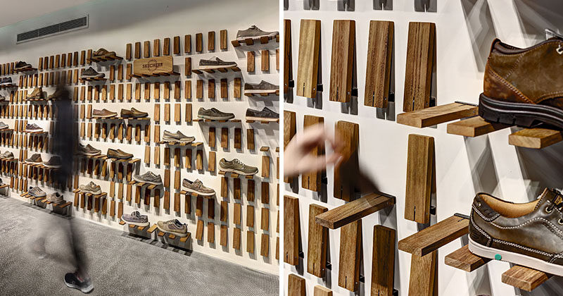 Storage Idea - Flip Down Wall Shelf // Instead of having regular shelves, the designers created a system where each individual piece of wood can be flipped down to create a shelf.