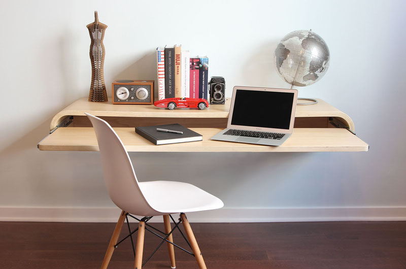 wall mounted office desk. 16 Wall Desk Ideas That Are Great For Small Spaces // This Floating Wall  Desk Mounted Office E