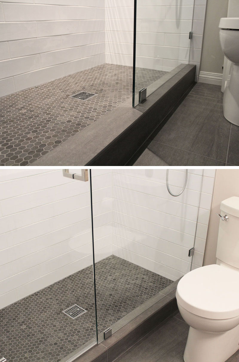 Bathroom Tile Ideas - Grey Hexagon Tiles // Small grey hexagonal tiles on the floor of this shower are in slightly different shades to add depth to the floor, and they work well with the grey tile on the rest of the floor of the bathroom.