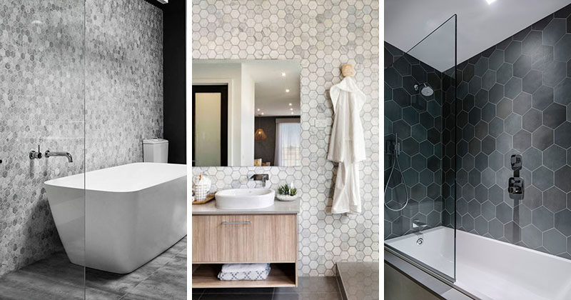 Beautiful Bathroom Tile Ideas   Grey Hexagon Tiles