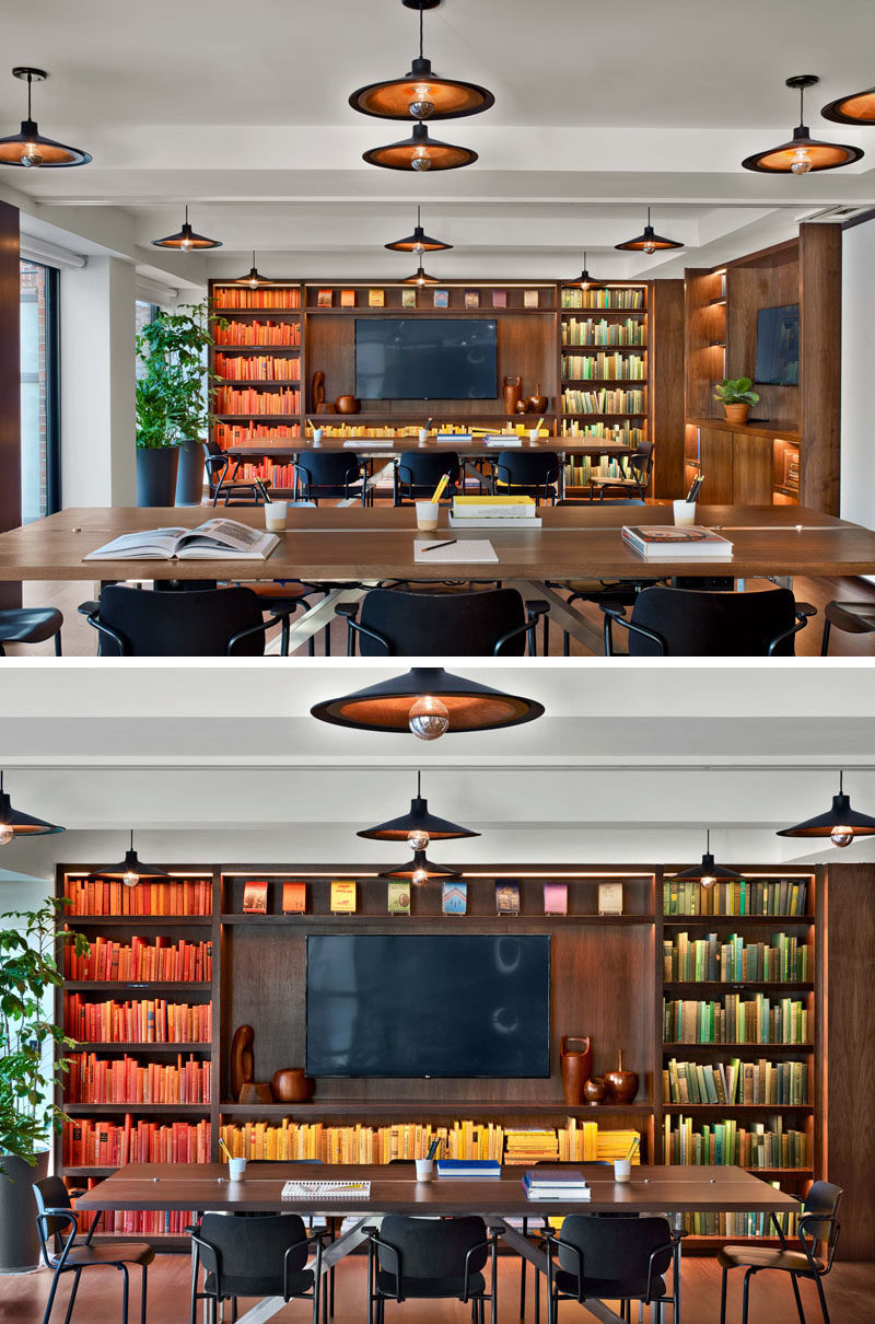 This business meeting room at the Arlo Hudson Square hotel, has built-in cabinetry and can be used as one large room for co-working, or it can be split into three private meeting spaces.