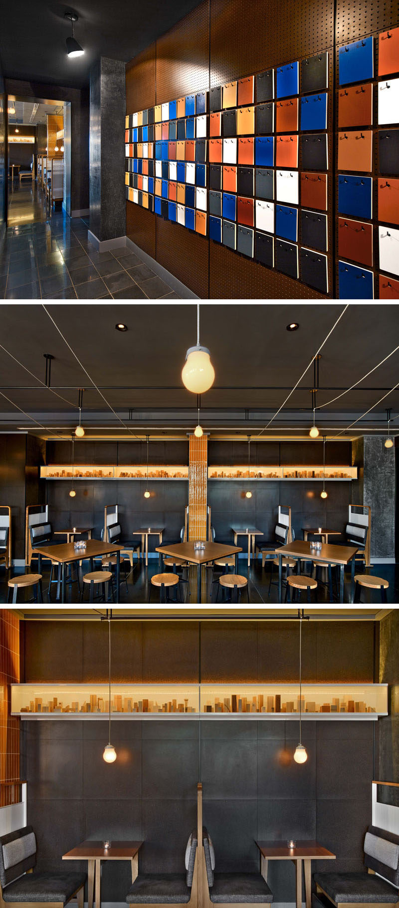 At the rooftop bar of the Arlo Hudson Square hotel in NYC, guests are greeted by an wall of wood planks, each painted two colors, that the guests can removed and replace, creating an ever-changing pattern of colors.