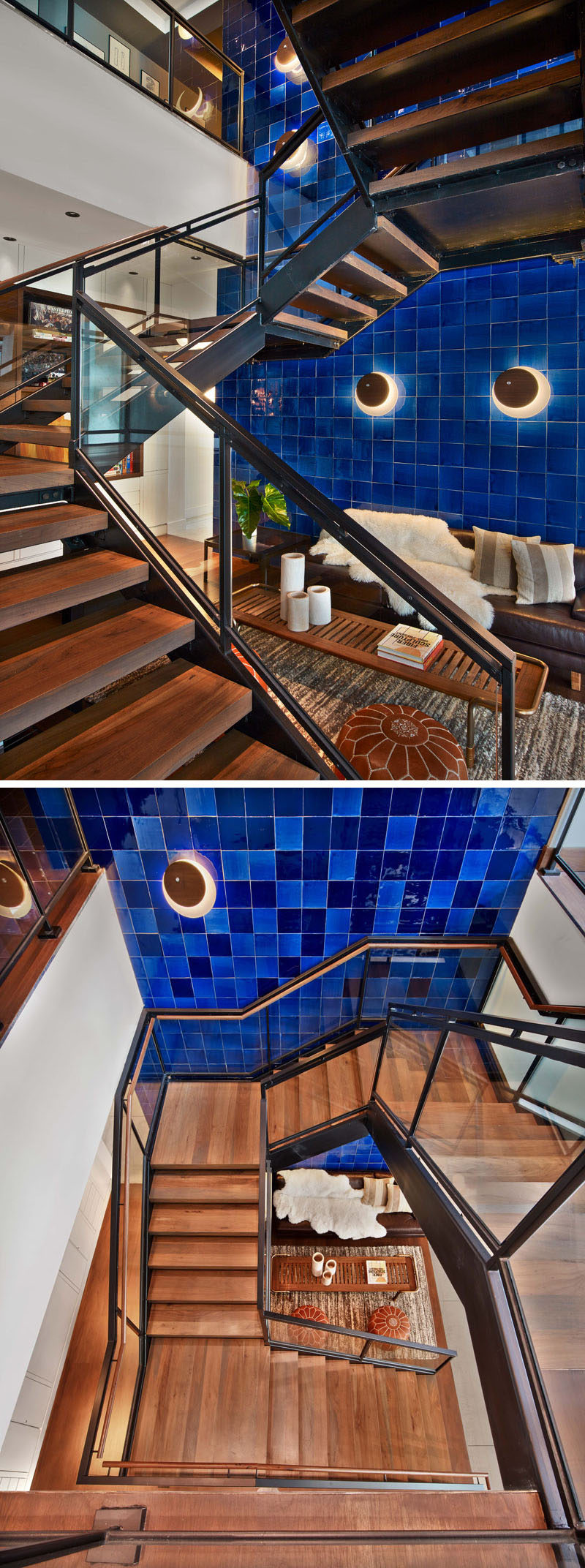 A large blue tiled wall runs alongside the wood and steel stairs, that lead to other floors of this hotel.