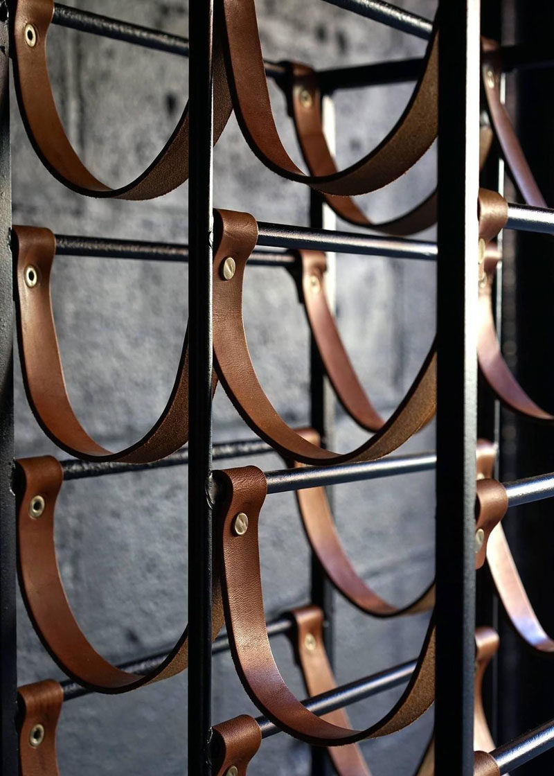 Interior Design Details - Industrial Close Ups // Dark metal, leather strips, and brass hardware make this wine rack the perfect modern industrial accent piece.