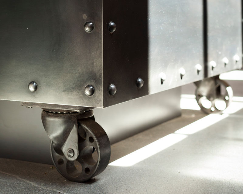 Interior Design Details - Industrial Close Ups // Wheels on the bottom of large steel kitchen islands create an industrial look and makes it easier to reconfigure the kitchen should the mood strike.