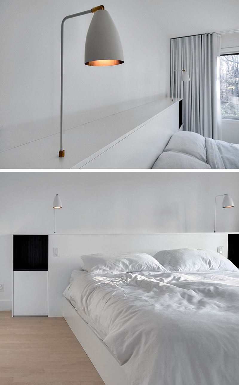 Bedroom Headboard Idea - Integrate Bedside Table Lamps Into Your Headboard