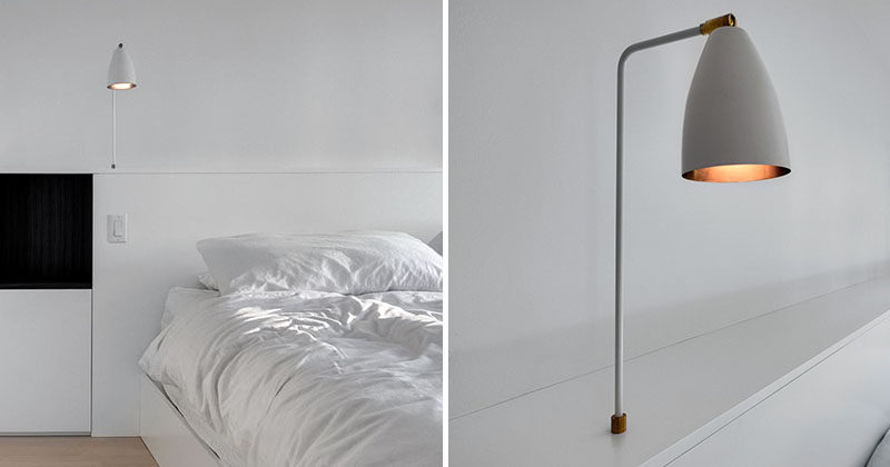 Bedroom Headboard Idea Integrate Bedside Table Lamps Into Your