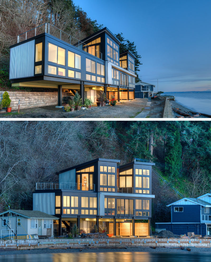 14 Examples Of Modern Beach Houses // This family beach house in Washington State sits on steel columns to allow for the possibility of mudslides or a rising tide.