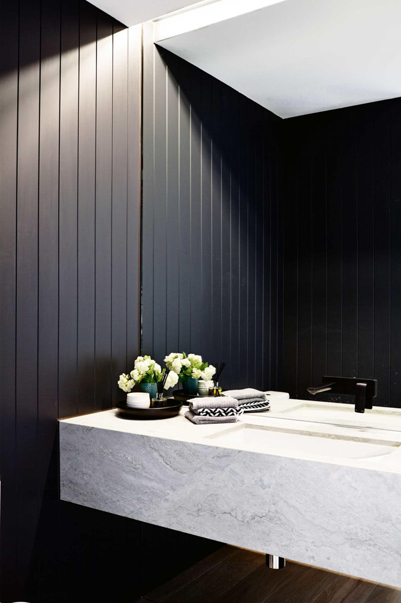 Perfect Bathroom Mirror Ideas Fill The Wall The lines on the walls of this