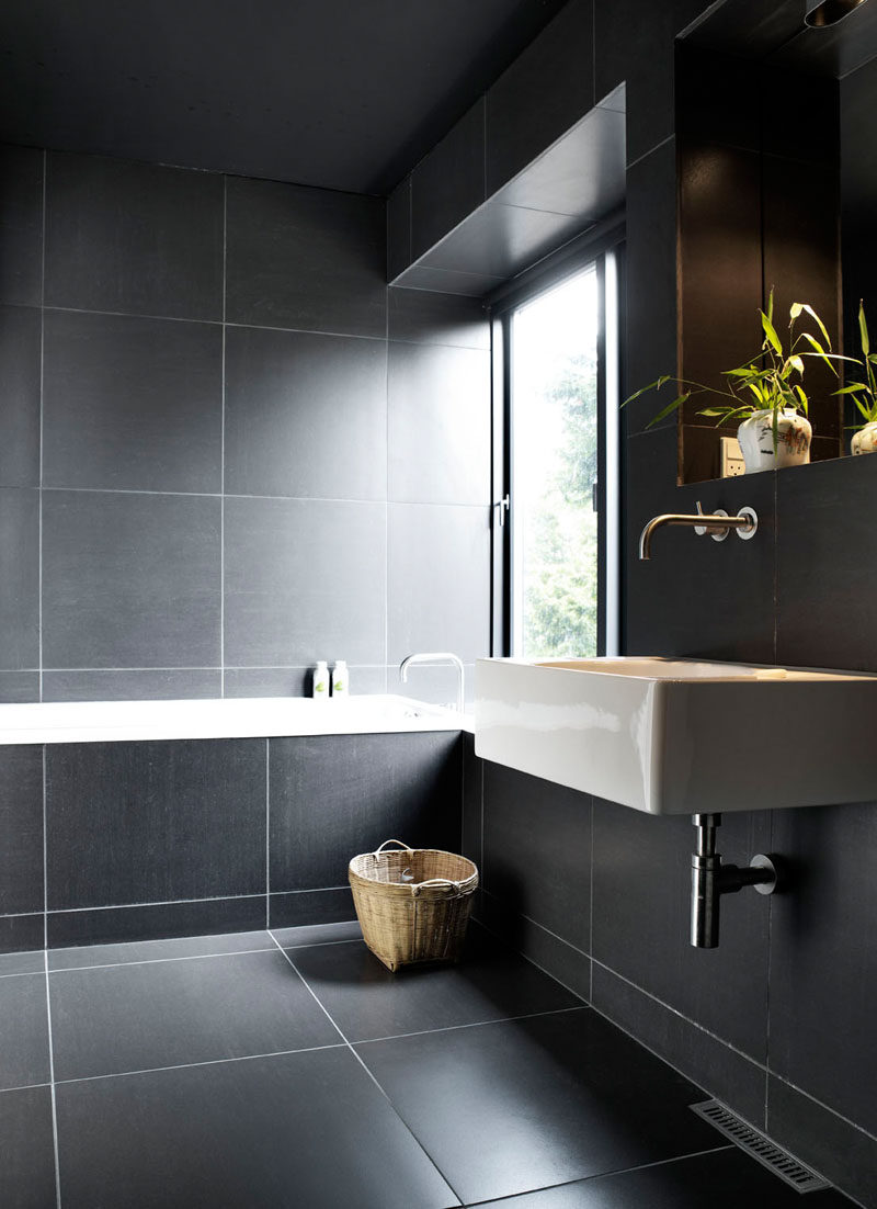 Bathroom Ideas Dark Tile Part - 39: Bathroom Tile Ideas - Use Large Tiles On The Floor And Walls // The Use