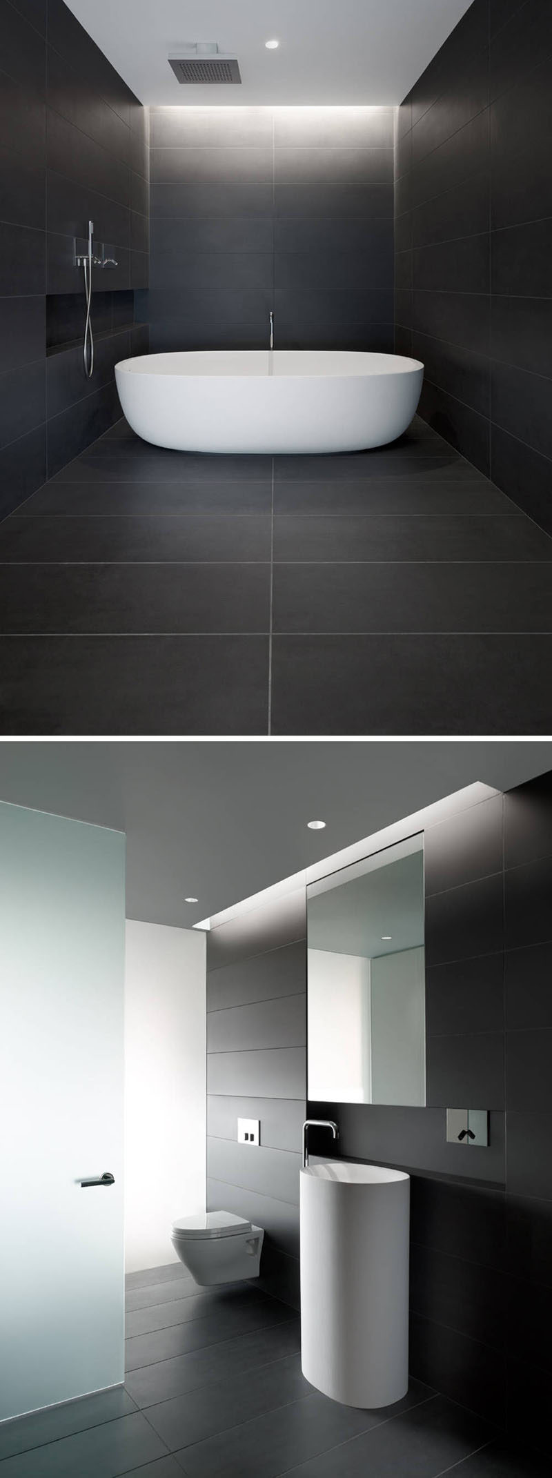 Large Dark Tiles Covering The Floor And Walls Of This Bathroom Create Beautiful Lines That Meet Up Seamlessly To A Calm Relaxing E