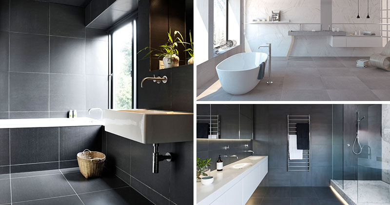 Bathroom Tile Idea Use Large Tiles On The Floor And Walls 18 Pictures Contemporist