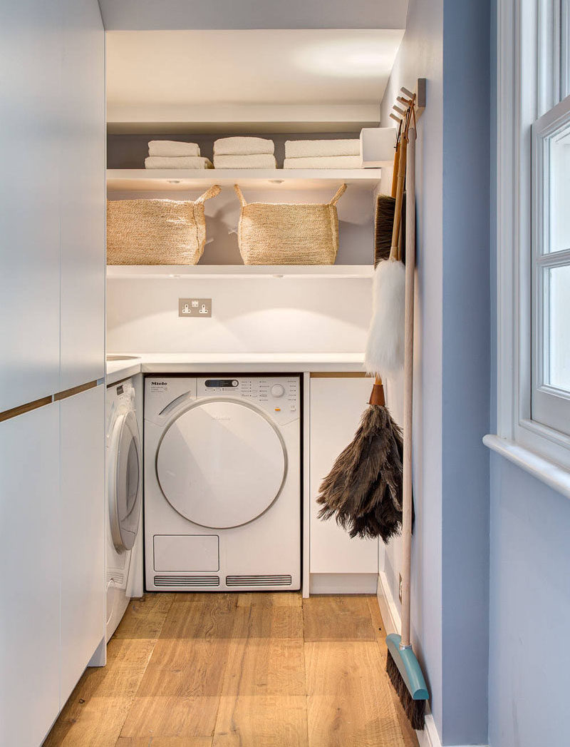 7 Laundry Room Design Ideas To Incorporate Into Your Own Laundry // Open shelving to keep everything within reach