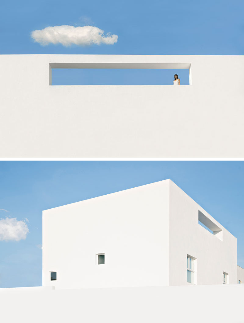 This modern home in Mexico has bright white exterior walls.
