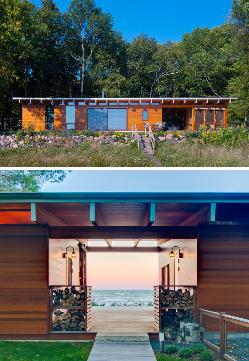 14 Examples Of Modern Beach Houses // As guests approach the entrance to this lakeside beach cottage they're greeted by a perfectly framed view of the lake out back.