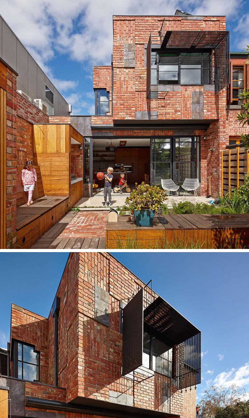 bricks arranged in different directions create a patchwork design on the exterior of this family house