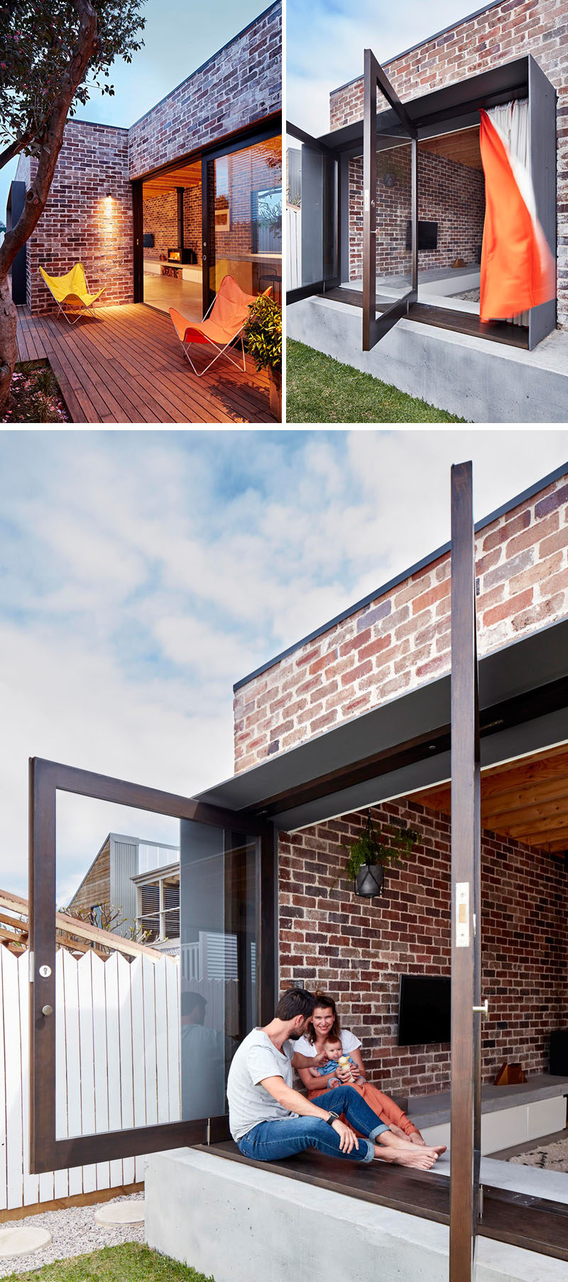 14 Modern Houses Made Of Brick // This small family home is covered with bricks that contrast the modern features of the house, like the large pivoting windows.
