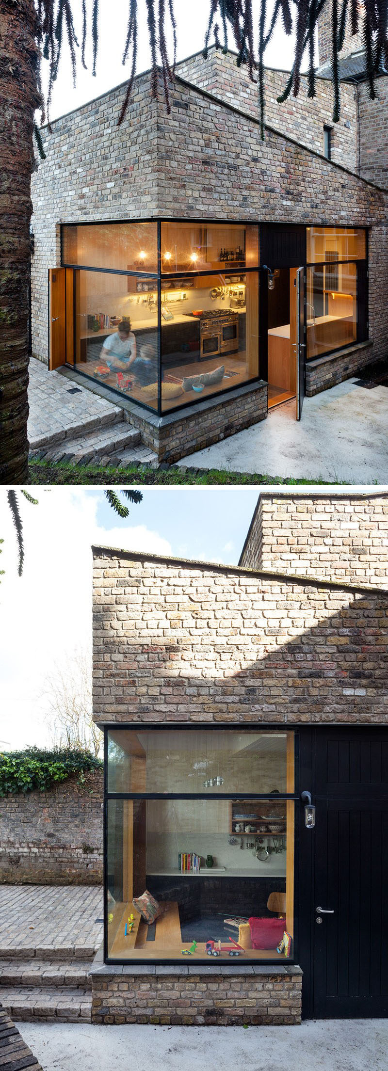 This brick extension matches the rest of the brick exterior and features large windows to maximize the amount of natural light in the home.