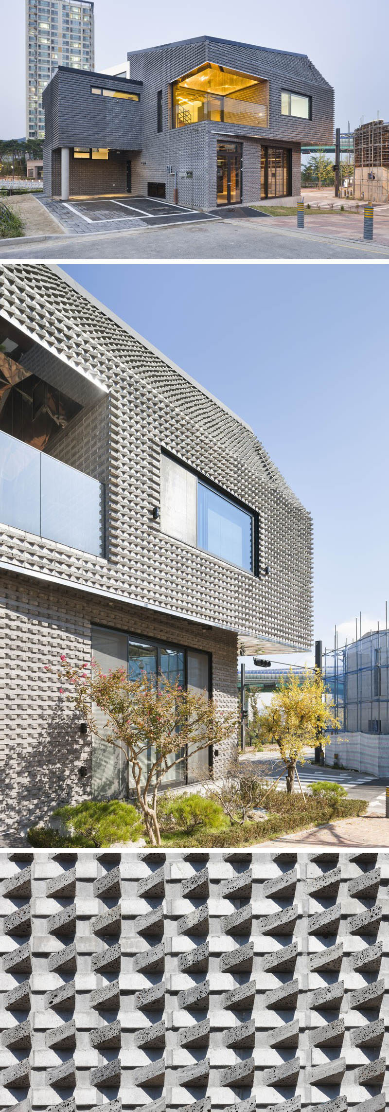 The bricks on the exterior of this house have been arranged on angles to create a textured look and a unique finish on the home.