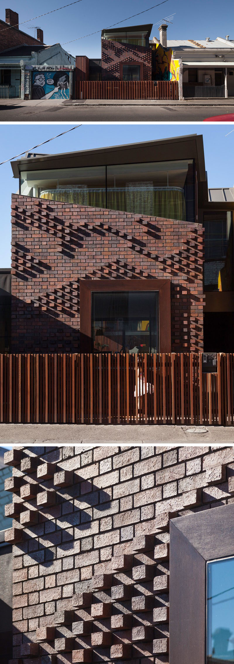A patterned brick facade casts different shadows throughout the day.