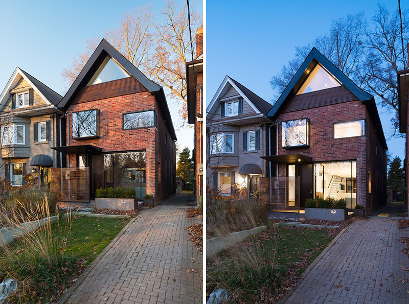 14 Modern Houses Made Of Brick // The bricks used on the front exterior of this family home are were preserved and repaired during the redesign of this house that was originally built in the early 1930s.