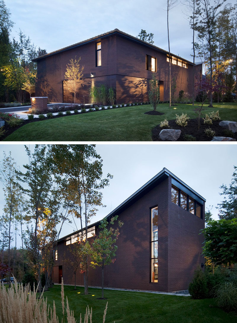 14 Modern Houses Made Of Brick // The clay bricks and cedar paneling on the exterior of this family home were both sourced directly from the area.