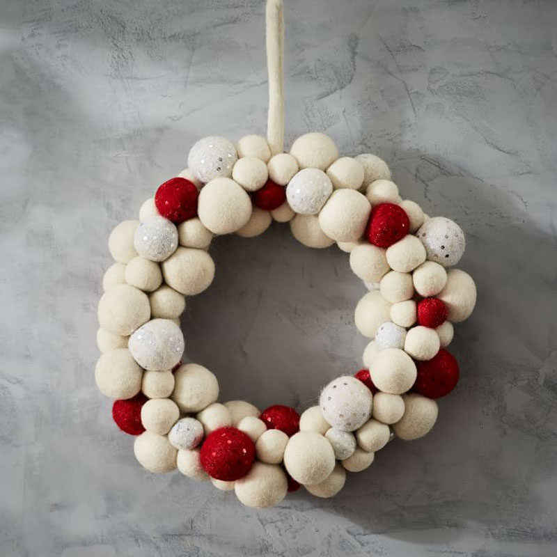 21 modern wreaths to decorate your home with this holiday season the felt balls - Modern Christmas Front Door Decorations