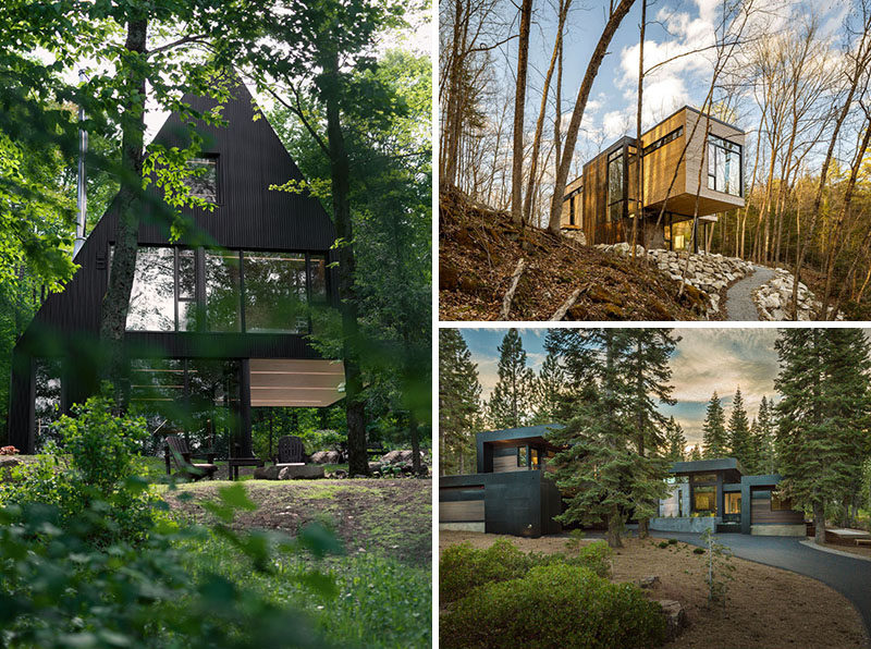Living in a forest doesn't necessarily mean you have to live in a rickety old cabin. Here are 18 modern houses in the forest that fit right in with nature. #ModernHouse #ModernArchitecture #HouseInForest #HouseDesign