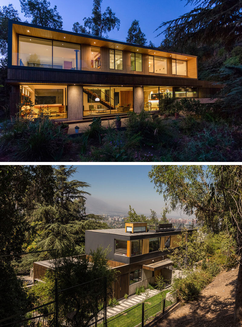 18 Modern House In The Forest // This family house might be surrounded by the hillside forest but it also has beautiful views of the city below. #ModernHouse #ModernArchitecture #HouseInForest #HouseDesign