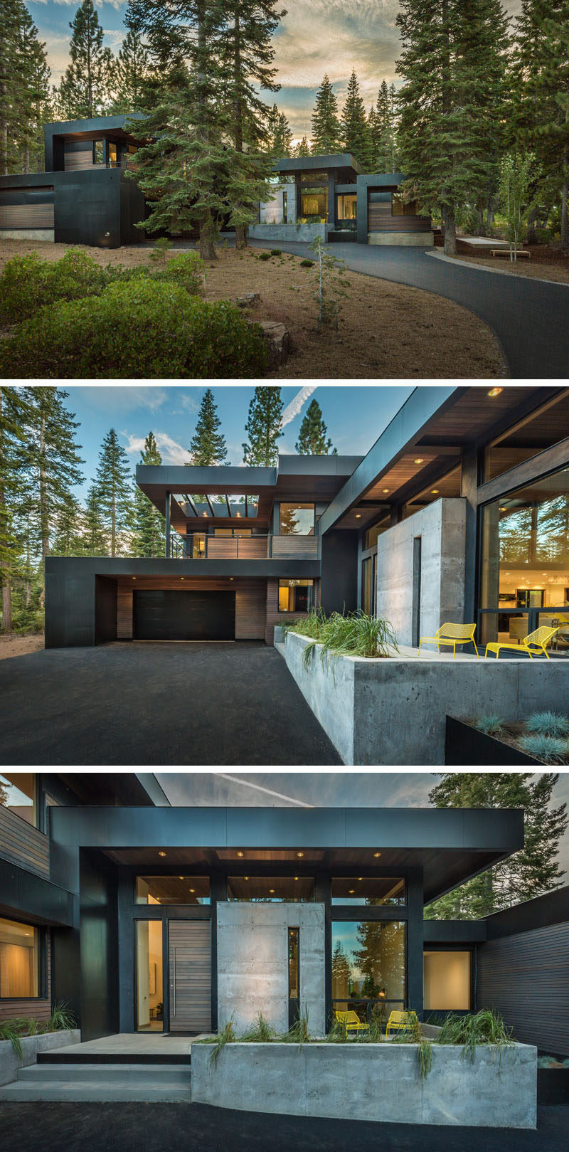 18 Modern House In The Forest // This home tucked into the forest is surrounded by trees on all sides, creating a beautiful scene no matter the season.#ModernHouse #ModernArchitecture #HouseInForest #HouseDesign