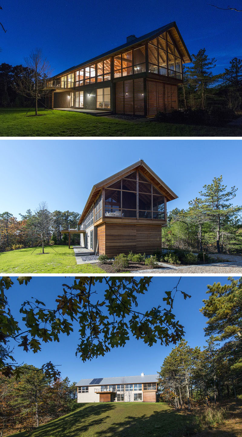 18 Modern House In The Forest // Lots of natural light streams through the windows of this large cabin surrounded by woodland. #ModernHouse #ModernArchitecture #HouseInForest #HouseDesign