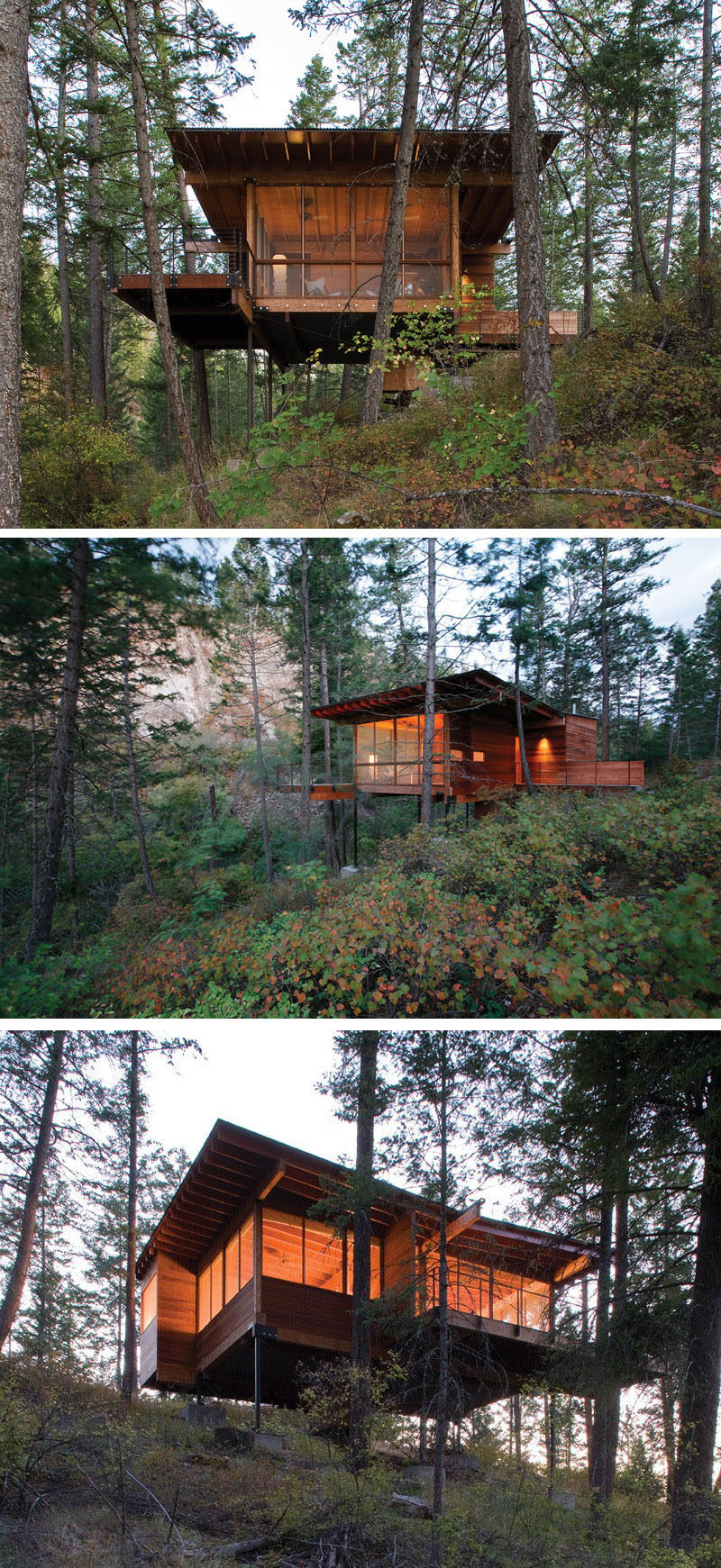 18 Modern House In The Forest // This forest house is lifted right up into the trees to provide better views of the surrounding vegetation. #ModernHouse #ModernArchitecture #HouseInForest #HouseDesign