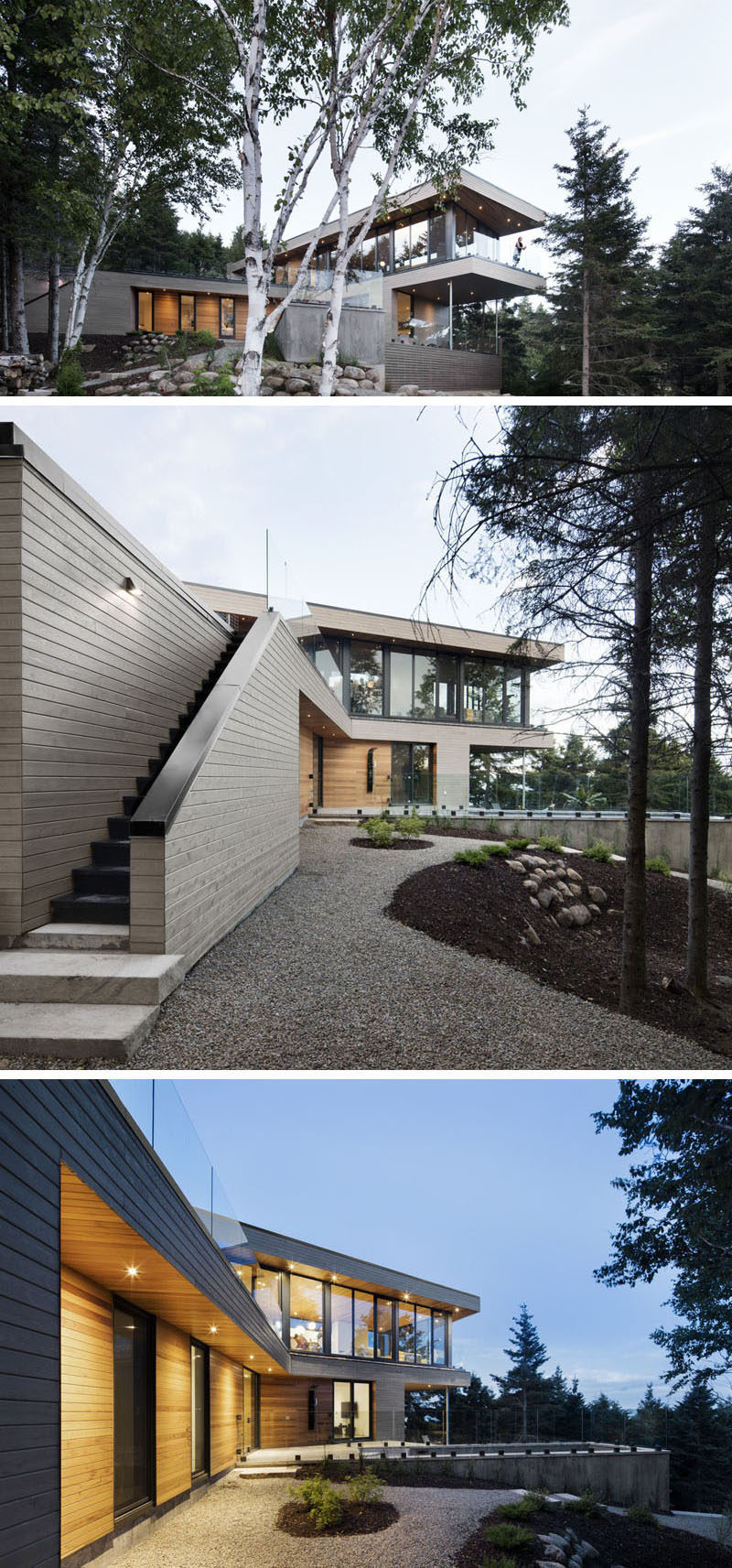 18 Modern House In The Forest // The design of this house lets the home owners enjoy the views of the surrounding forest and river. #ModernHouse #ModernArchitecture #HouseInForest #HouseDesign