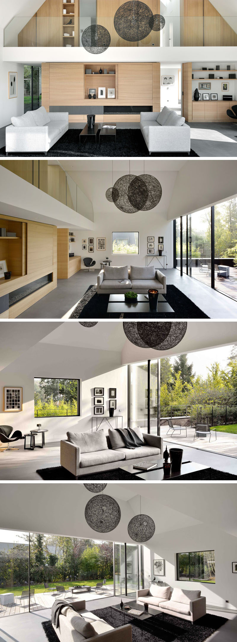 The main living area of this renovated home has been opened up and is now two storeys high, allowing for a spacious living room that opens up to the backyard.