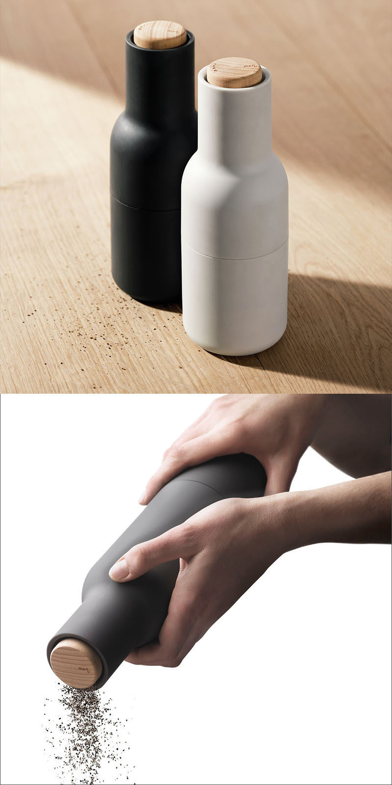 Essential Kitchen Tools - Salt and Pepper Mills // The matte finishes on these grinders make them the perfect addition to any stylish kitchen table.
