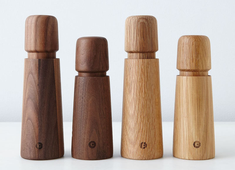 Essential Kitchen Tools - Salt and Pepper Mills // These minimal wooden grinders come in two kinds of wood and bring in a natural touch to your kitchen.