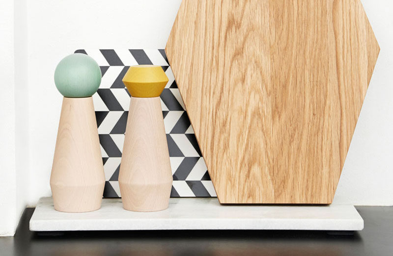 Essential Kitchen Tools - Salt and Pepper Mills // The fun shapes and colors on the tops of these grinders help add a bit of liveliness to your kitchen.