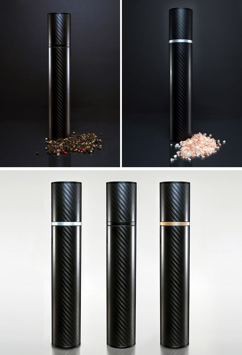 Essential Kitchen Tools - Salt and Pepper Mills // A carbon fiber body creates a minimal design while heavy duty ceramic and aluminum component create a long lasting and efficient mill.