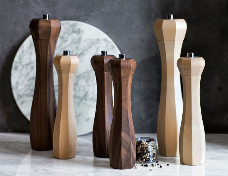 Essential Kitchen Tools - Salt and Pepper Mills // These wooden mills put a modern twist on the traditional pepper grinders by losing the circular shape and instead going for an octagonal design.
