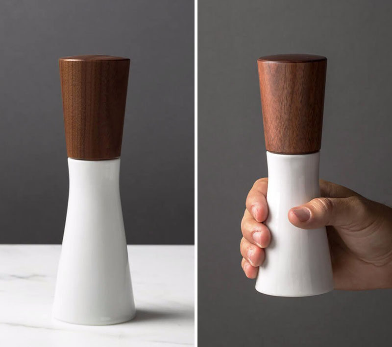 Essential Kitchen Tools - Salt and Pepper Mills // A ceramic base and a dark wood top create a nice contrast that gives the mill a sophisticated look and feel.