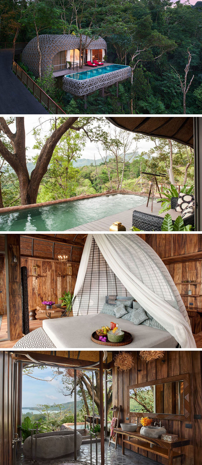 Travel Idea - At the Keemala resort in Thailand and situated up in the trees, criss-crossing strips cover the outside of this villa to create an exterior that resembles a birds nest.