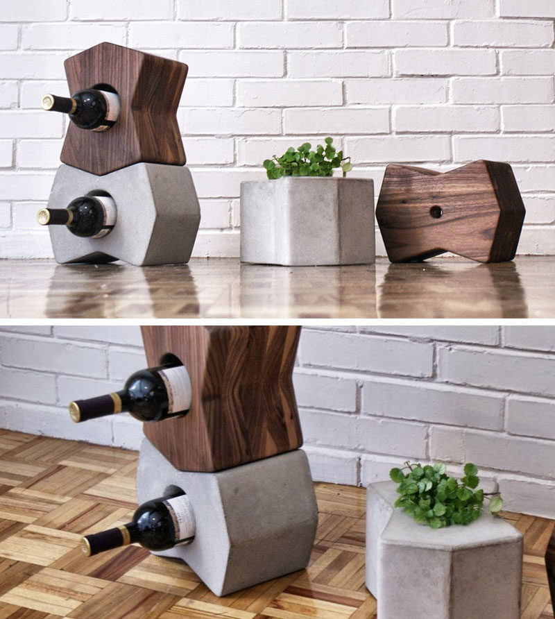 13 Wine Bottle Storage Ideas For Your Stylish Home // These wood and concrete wine bottle holders can be used alone or stacked on top of each other to create a modular wine storage system.