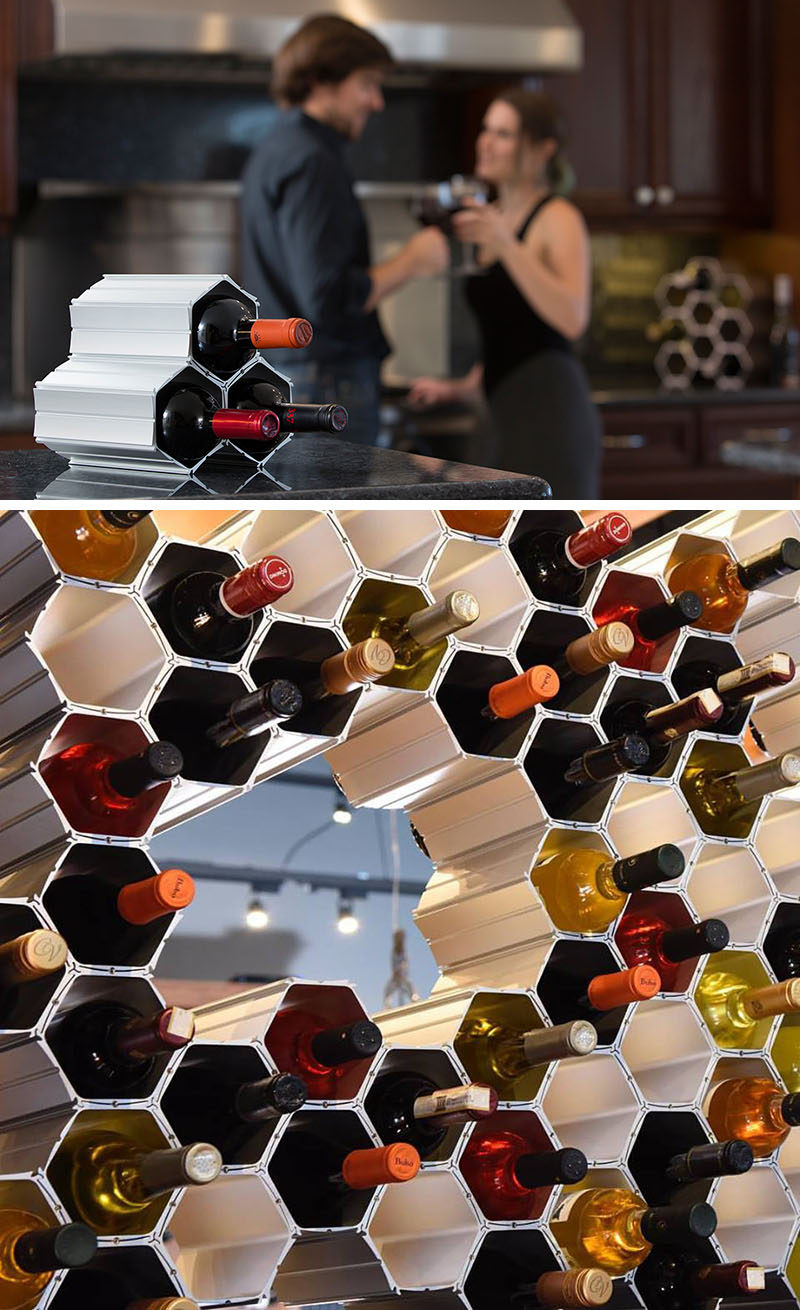 13 Wine Bottle Storage Ideas For Your Stylish Home // Hexagonal interlocking give this wine storage system a look similar to that of a honeycomb found in bee hives, giving rise to the name WineHive.