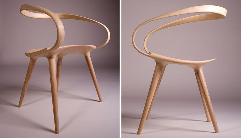 The Back Of This Sleek Dining Chair Is Made From A Single Piece Of Bent  Wood Giving It A Smooth Seamless Look.