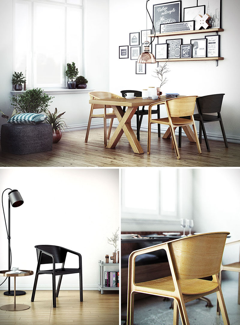 Furniture Ideas - 14 Modern Wood Chairs For Your Dining Room // These wooden dining chairs have been smoothed out and finished so you can still see the natural grains in the wood.