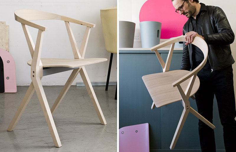 Furniture Ideas - 14 Modern Wood Chairs For Your Dining Room // The seat and back legs of this chair can be folded up to make it easier to store them when they aren't being used, but the curved wood seat makes it more comfortable than your average folding chair.