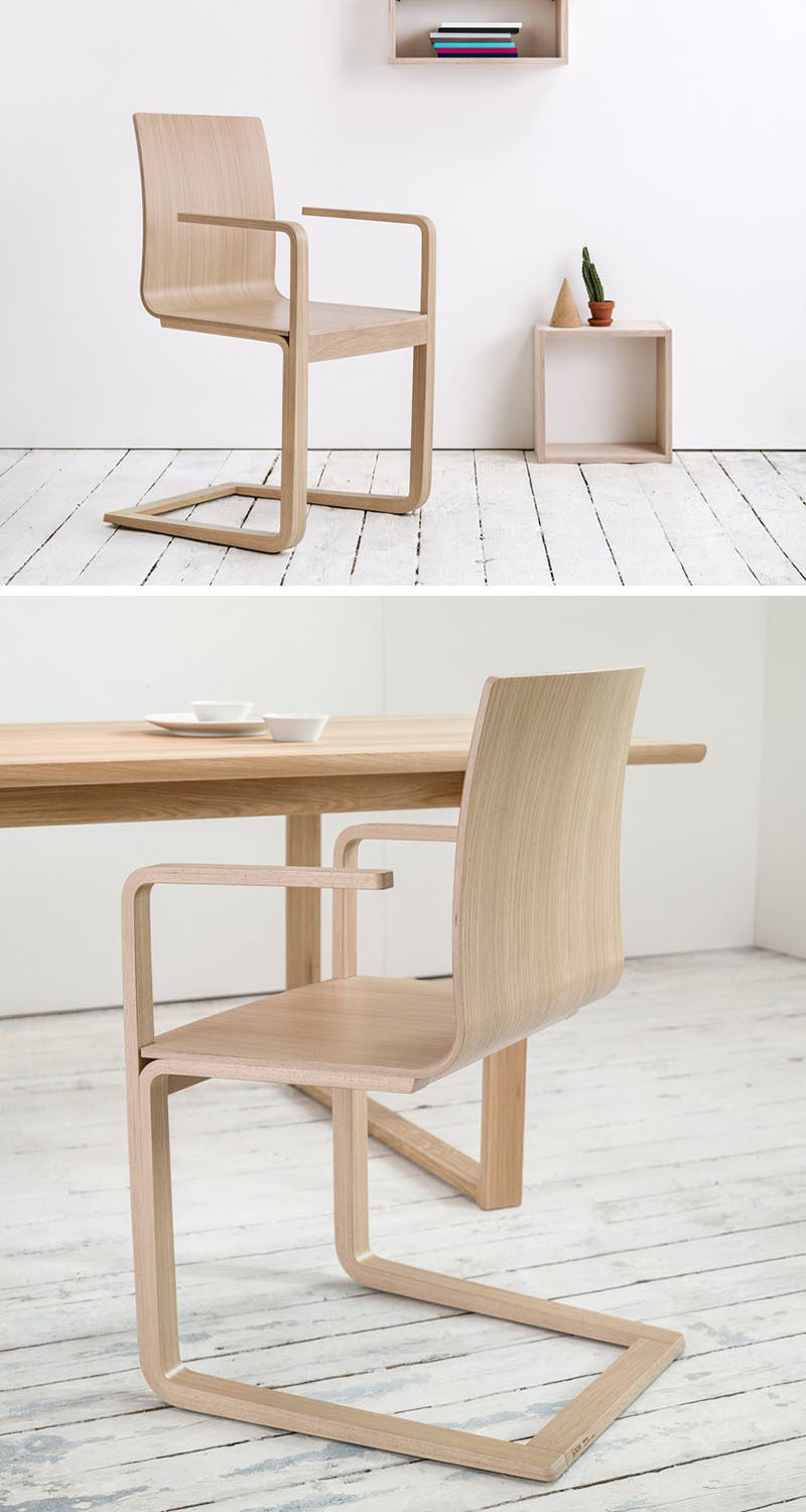 Furniture Ideas - 14 Modern Wood Chairs For Your Dining Room // The wood of these chairs has been bent into a curved seat with high arm rests that have just the right amount of give.