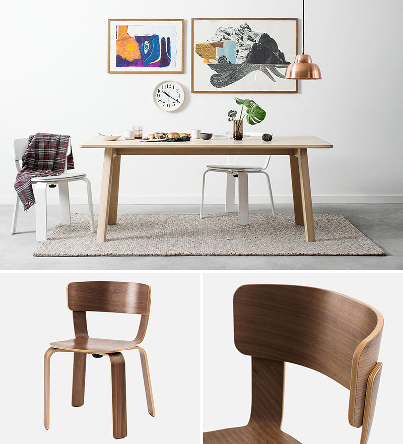 Furniture Ideas - 14 Modern Wood Chairs For Your Dining Room // This simple yet sophisticated wooden dining chair has a single bolt that joins the legs to the seat, then the backrest slides simply, allowing it to easily dismantled when needed.