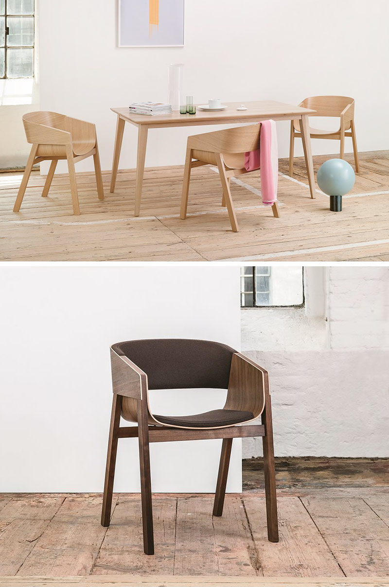 Furniture Ideas - 14 Modern Wood Chairs For Your Dining Room // Two intersecting pieces of bent plywood make up the seat and back of this minimalist dining chair that's also available with a padded back.